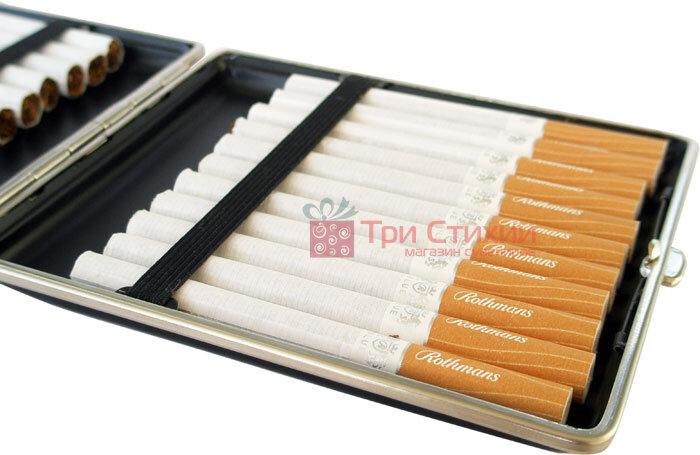 Портсигар VH 903201 для 22 Super KS слим сигарет, шкіра чорна, фото 3