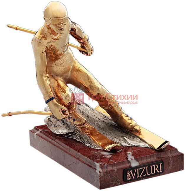 Статуетка з бронзи «Гірськолижник (золотий)» Vizuri (Візурі) S03 / P, фото